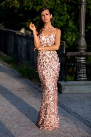 Rochie de seara rose accesorizata cu dantela si paiete Expression