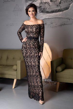 Rochie de seara din dantela neagra cu jupon nude Davina