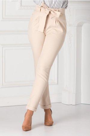 Pantaloni bej casual cu cordon in talie