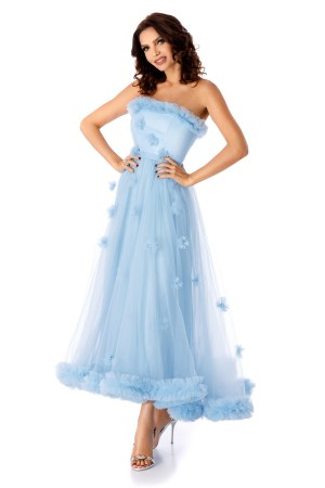 Rochie albastra-deschis de ocazie cu corset din saten