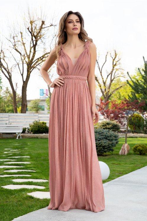 Rochie de ocazie lunga roz coniac