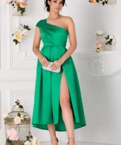 Rochie de ocazie scurta verde cu un umar