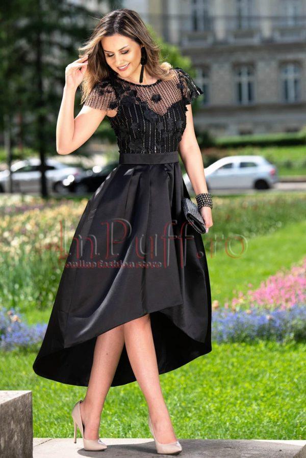 Rochie de seara asimetrica neagra din tafta