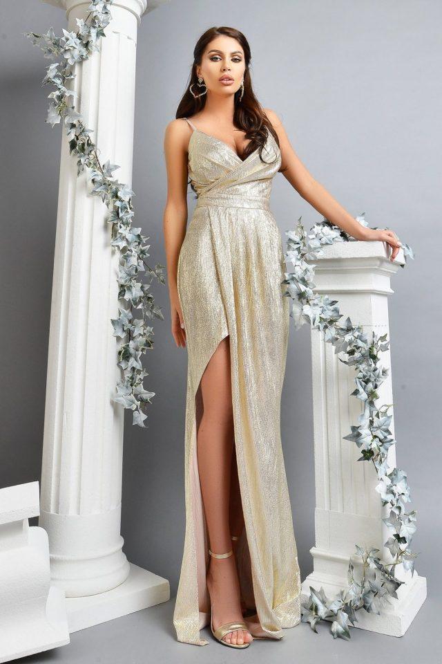 Rochie de seara lunga din crepe aurie