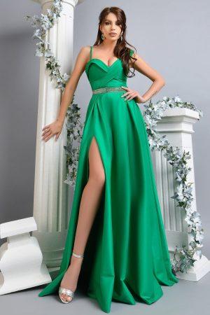 Rochie de seara lunga verde din tafta