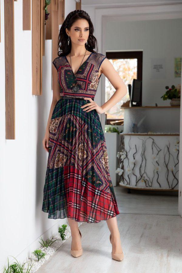 Rochie de zi cu imprimeu geometric colorat