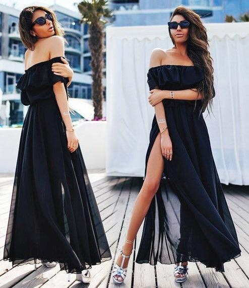 Rochie de zi lunga vaporoasa cu crapatura pe picior