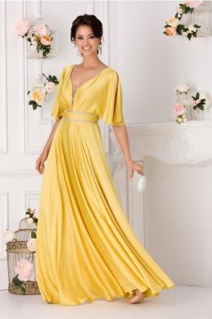 Rochie eleganta lunga cu maneci decupate