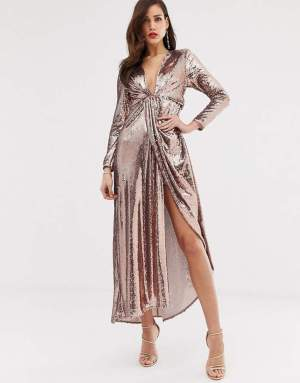 Rochie eleganta lunga de seara cu paiete
