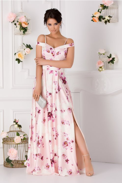 Rochie lunga eleganta roz pal cu imprimeu floral pastelat