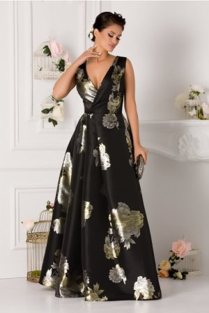 Rochie lunga neagra de seara cu imprimeu