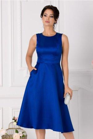 Rochie scurta albastra eleganta cu decolteu rotund