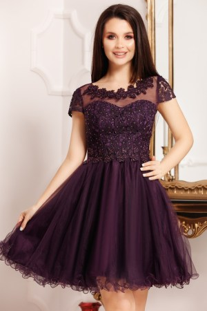 Rochie scurta din dantela si tulle tip baby doll