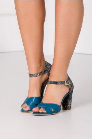 Sandale elegante turcoaz cu toc
