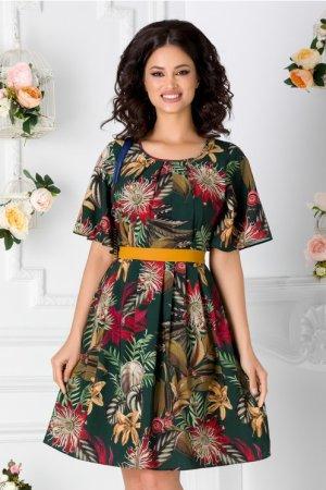 Rochie de zi cu imprimeu floral si cordon la talie