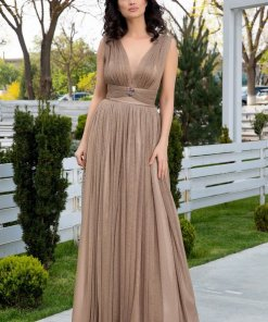 Rochie lunga bej eleganta cu lurex auriu LaDonna