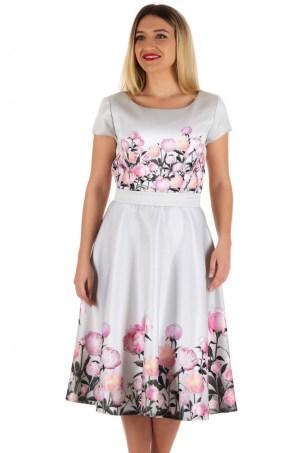 Rochie alba in clos cu imprimeu floral