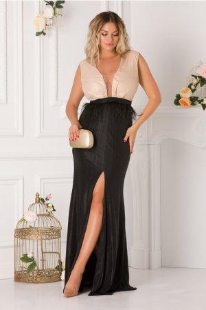 Rochie de ocazie eleganta cu pene in talie