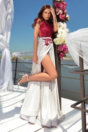 Rochie de ocazie lunga eleganta din saten si dantela
