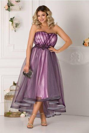Rochie de seara eleganta asimetrica din tulle