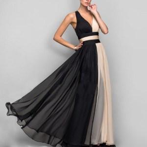 Rochie de seara lunga eleganta din doua culori
