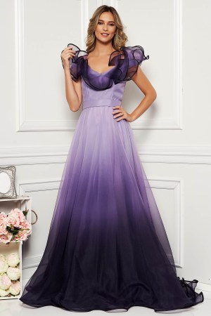 Rochie de seara lunga eleganta din tulle in degrade