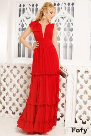 Rochie de seara rosie cu volane