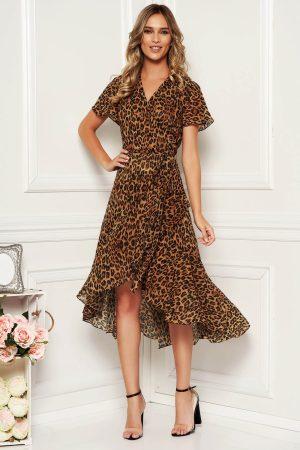 Rochie de zi asimetrica petrecuta cu imprimeu leopard