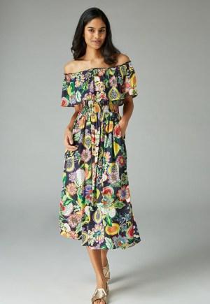 Rochie de zi colorata cu umerii goi