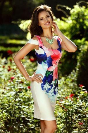 Rochie de zi cu imprimeu floral colorat