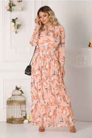 Rochie de zi lunga cu imprimeu pastelat floral