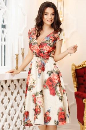 Rochie eleganta in clos cu imprimeu floral