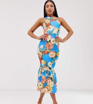 Rochie eleganta tip sirena cu imprimeu floral