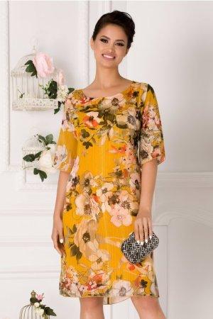 Rochie galbena eleganta cu imprimeu floral