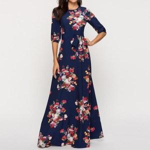 Rochie lunga de zi cu imprimeu floral