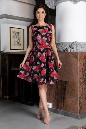 Rochie scurta neagra cu imprimeu floral