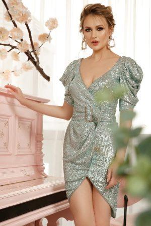 Rochie verde-deschis eleganta tip creion asimetrica