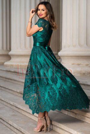 Rochie de seara verde asimetrica din dantela