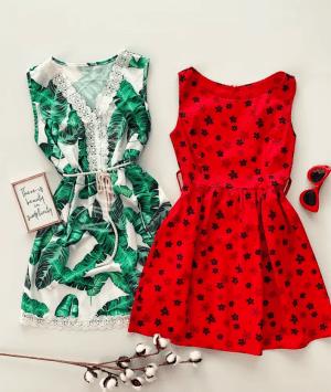 Doua rochii scurte de vara rosie si verde la doar 99 RON!