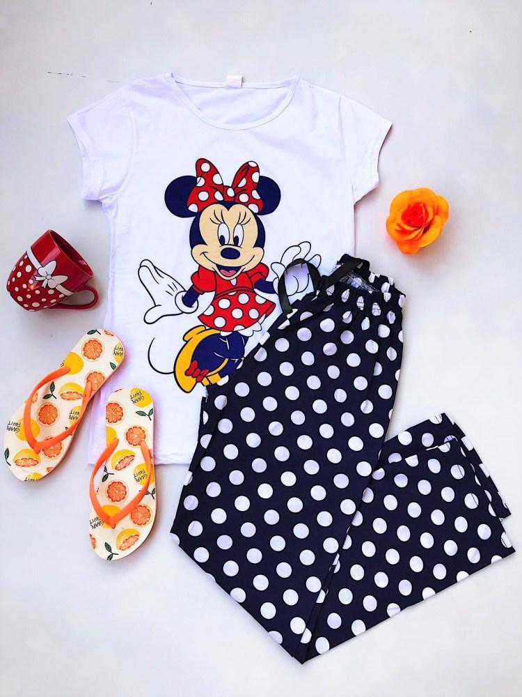 Pijama dama lunga alba cu imprimeu Minnie din bumbac