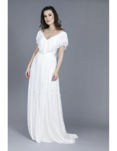 Rochie de mireasa cu pliseuri de matase si decolteu in v