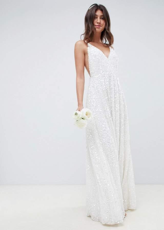 Rochie de mireasa lunga cu spatele gol Asos