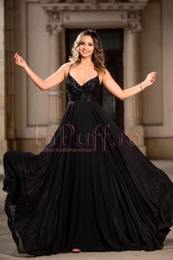 Rochie de ocazie lunga neagra din voal cu paiete