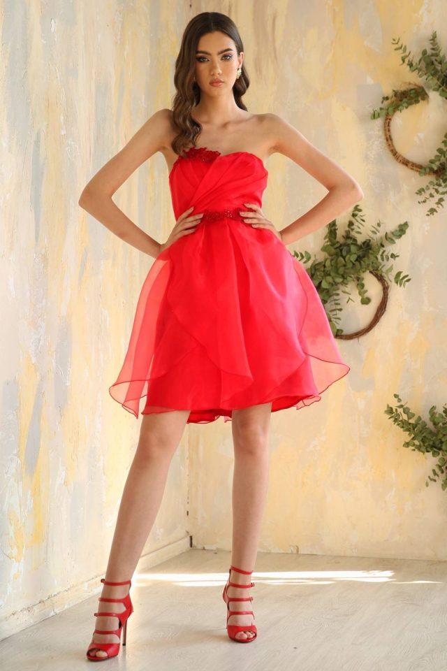 Rochie de ocazie scurta eleganta din organza cu corset