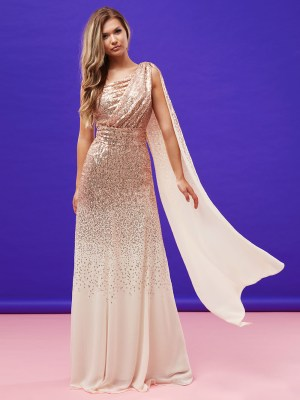 Rochie de seara eleganta din paiete si sifon