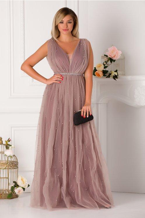 Rochie de seara lunga eleganta cu perle aplicate pe tull
