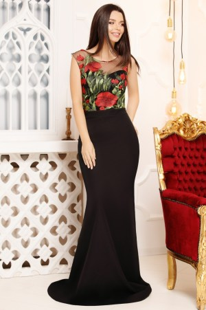 Rochie de seara lunga eleganta cu trena tip sirena