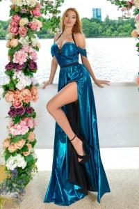 Rochie de seara lunga eleganta din lurex turcoaz