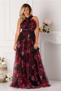 Rochie de seara lunga eleganta din tulle imprimat cu trandafiri