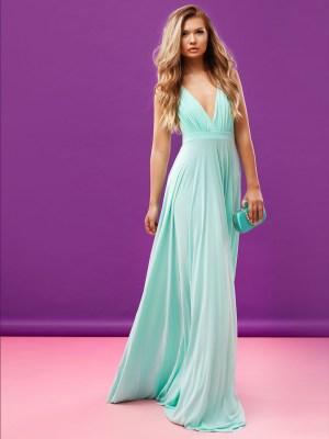 Rochie de seara lunga eleganta turcoaz cu decolteu in v